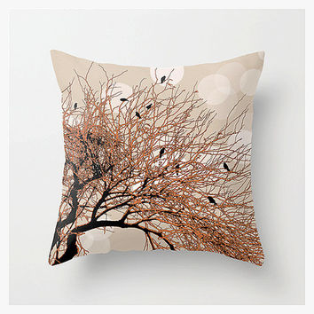 Throw Pillow Cover, CHOIR TREE, Art/Photography, Landscape, Birds, Nature, Orange Brown, Unique, Halloween Party, Home Décor, Etsy ArtBJC