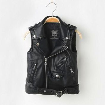 Girl Vest,Spring Autumn,Kids Boy Waistcoat,Kids Boy Girl Clothes,Pullover Sweater,PU Leather Coat Jacket,For 3-12T
