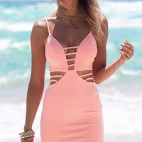 Sun Kissed Pink Spaghetti Strap Plunge V Neck Cut Out Side Bodycon Mini Dress