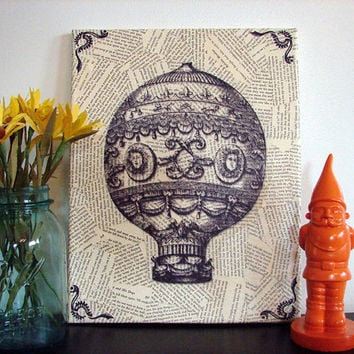 Canvas Wall Art Vintage Hot Air Balloon Print by Stoic on Etsy