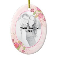 Custom Modern Floral Wedding Oval Ornament