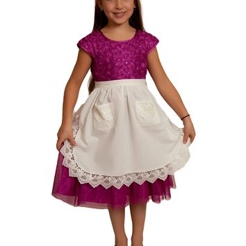 Dutch Girls Apron Lace Ecru Half Apron (Ages 4-16) Maids Apron
