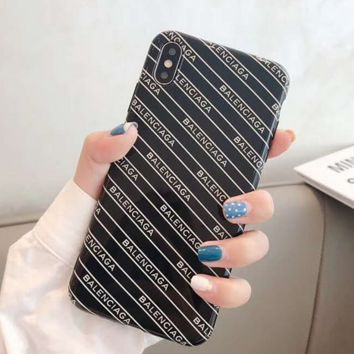 Black BALENCIAGA Case for iPhone 7 8 XS MAX XR