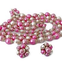 Jewelry Set Multi Strand Necklace and Earrings Pink Shades Signed Japan