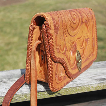 Vintage Leather Engraved Purse - Western