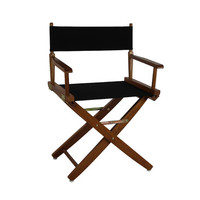 Yu Shan Extra-wide Premium Directors Chair Mission Oak Frame with Black Color Cover