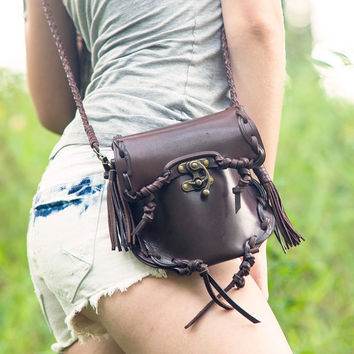 2-Way Tassels & Braided Leather Purse Hip Bag - Coffee Brown