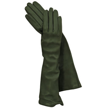 Green Long Italian Leather Gloves, Elegant, Classy Silk-lined 8-button