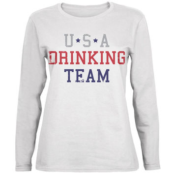 4th of July USA Drinking Team White Womens Long Sleeve T-Shirt