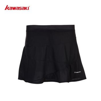 Brand KAWASAKI Pleated Women's Tennis Skirt Quick Dry Running Cycling Fitness Skort for Girls Sports Skirts White Black SK-T2702