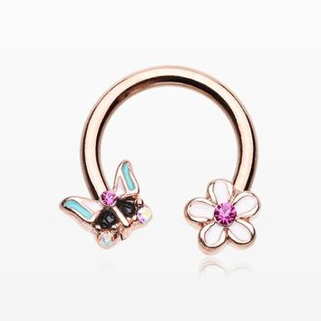 Rose Gold Sweet Butterfly Flower Garden Horseshoe Circular Barbell