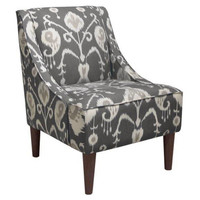 Quinn Swoop-Arm Chair, Smoke Gray Ikat, Accent & Occasional Chairs