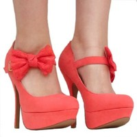 Women's Qupid Coral Mary Jane Bow High Heel Stiletto Pump Size 7.5 (Onyx74)