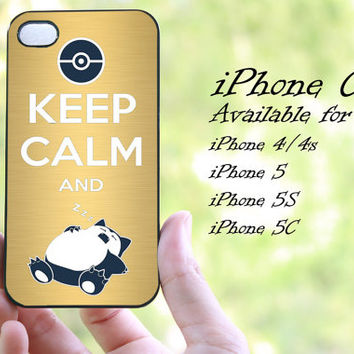 keep calm and pokemon snorlax golddesign iphone case for iphone 4 case, iphone 4s case, iphone 5 case, iphone 5s case, iphone 5c case