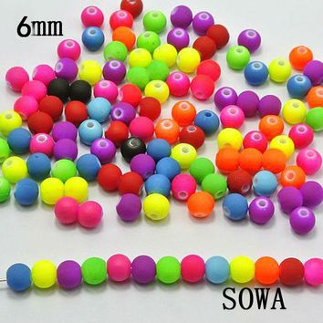 Good Quality 200PCS 6MM Mixed Candy Color Acrylic Rubber Beads Neon Matte Round Spacer Loose Beads Jewelry Handmade Necklace DIY