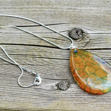 Orange Green Dragon Vein Agate Stone Pendant on a Sterling Silver Chain ~ Agate Necklace ~ Dragon Vein Stone Necklace ~ Teardrop Shape
