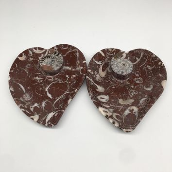 """2pcs,6.25""""x5.2"""" Ammonite Fossils Heart Plates Dishes Red Marble @Morocco,MF1363"""