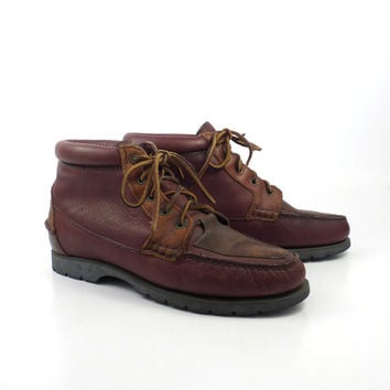 Hiking Moccasin Boots Vintage 1980s Timberland Water Moccasin Leather Boots Women's size 9