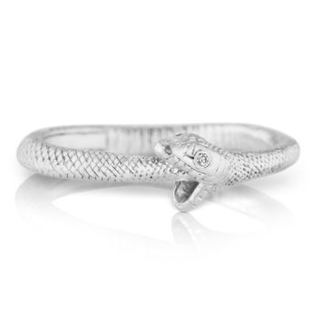 Anthony Lent Diamond Silver Ouroboros Snake Ring