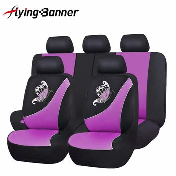 flyingBanner Butterfly Printing Breathable Sandwich Cloth Car Seat Cover Universal Fit Most Vehicles Pink Seat Cover Car-Styling