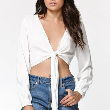 Kendall & Kylie Long Sleeve Tie Front Top - Womens Shirts - White - Medium