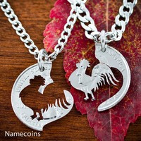 Rooster Necklaces for couples, hand cut coin by Namecoins
