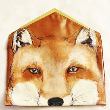 Painted fox purse, Stars on Mars original hand painting on vintage 1970's Teek-Orr brand genuine leather clutch
