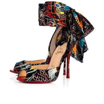 NEW CHRISTIAN LOUBOUTIN Shoes Jersey Vamp Black/Flamenco 38.5