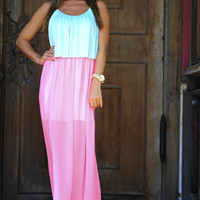 Going To Back To Maxi Dress: Blue/Pink | Hope's