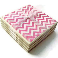 Pink Chevron Handmade Tile Coasters, Set of 4, Distressed Pattern Holiday Gift Teacher Gift Trendy