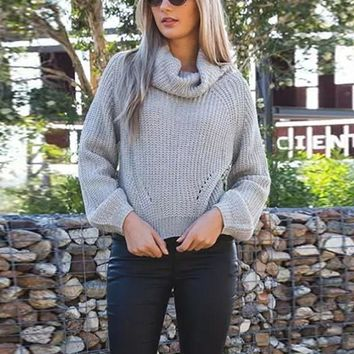 Women Knitted Turtleneck Long Sleeve Shirt