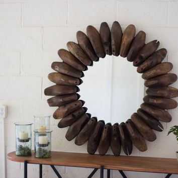 Antique Wooden Shoe Mold Mirror-36""