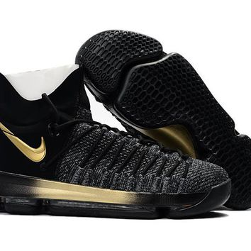 auguau Nike Men's Durant Zoom KD 9 Flyknit Basketball Shoes Black Golden 40-46