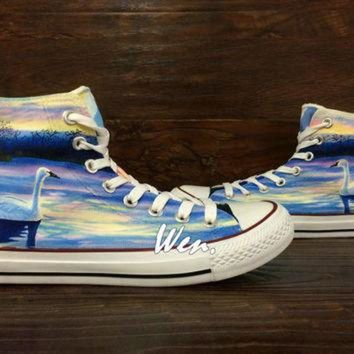 VONR3I WEN Original Design Swan at Dusk Swan Converse Swan Shoes Hand Painted Shoes,Painted C