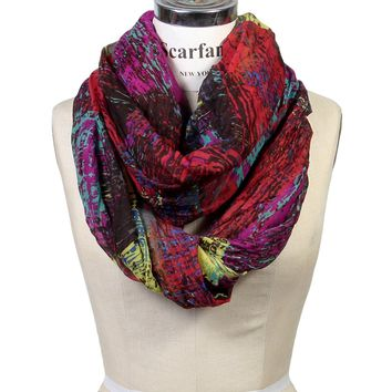 Scarfand's Mixed Color Oil Paint Infinity Fashion Scarf