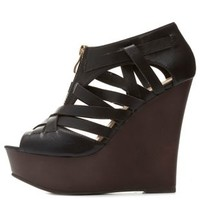 Qupid Zip-Up Peep Toe Wedges by