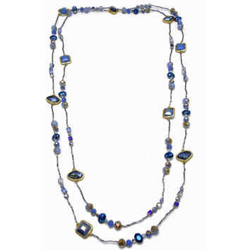 """Necklace Handcrafted Glass and Crystal Beads Blue 80"""" Long"""