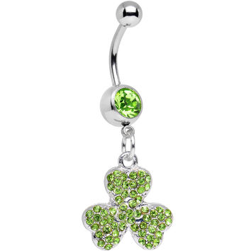 Light Green Gem Almost Lucky Three Leaf Clover Dangle Belly Ring