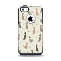 The Vintage Solid Cat Shadows Apple iPhone 5c Otterbox Commuter Case Skin Set