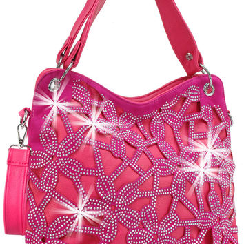 * Rhinestone Floral Pattern Layered Handbag In Fuchsia