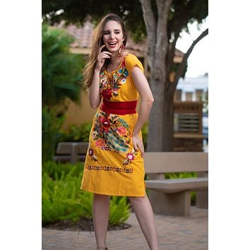 Mexican Kimono Embroidered Mini Dress