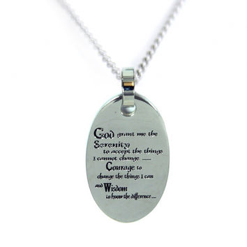 Stainless Steel Serenity Prayer Necklace