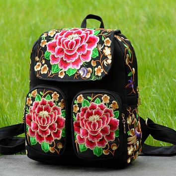 Day-First™ Canvas Ethnic Embroidered Backpack Travel Bag