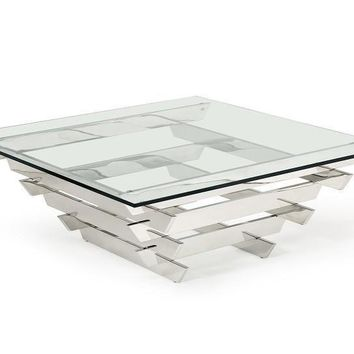 Modrest Upton Modern White Square Glass Coffee Table