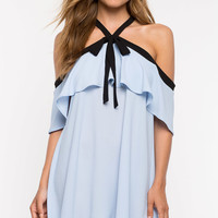 Serenity Ruffle Shoulder Shift Dress