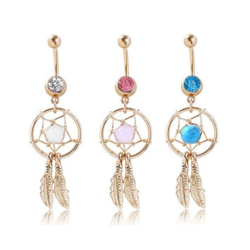 1PC Dream Catcher Crystal Piercing Belly Button Dangle Navel Ring Barbell Golden Plated (With Thanksgiving&Christmas Gift Box)= 1645900100