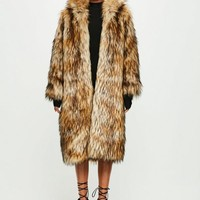 Missguided - Peace + Love Brown Faux Fur Maxi Coat