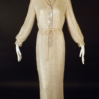 1960 White Sequin Chiffon Evening Gown, Size-6