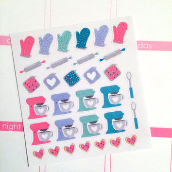 Mini Assorted Baking Set Planner Stickers