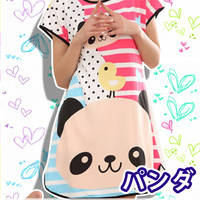 New Cute Baby Panda Korean Style Round-Neck Spring and Summer Home Clothes Free Size KK407